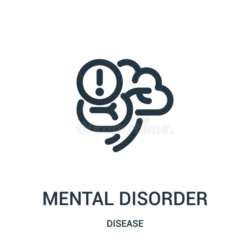Mental disorder icon vector from disease collection. Thin line mental disorder outline icon vector illustration. Linear symbol for. Use on web and mobile apps stock illustration
