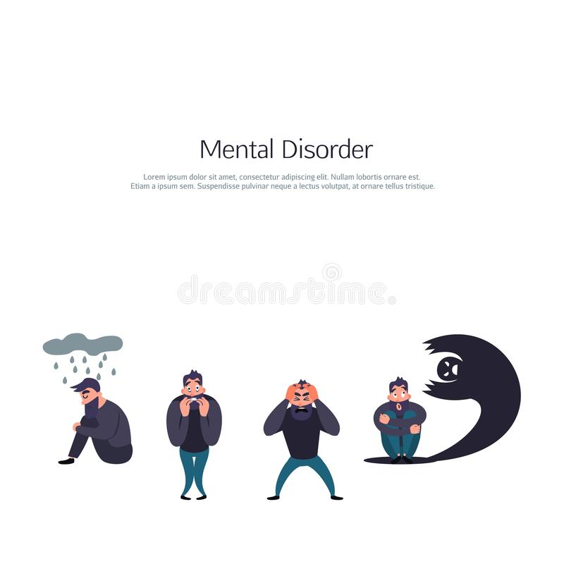 Group of people with psychology or psychiatric problem. Illness men in anxiety disorder. Phobia, suicide, fear and other vector illustration