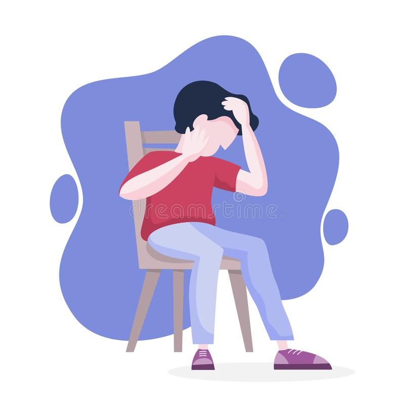 Mental disorder. Man suffer from a depression. Mental disorder. Man suffer from depression and anxiety. Fear and stress, unhappy person. Vector illustration in royalty free illustration