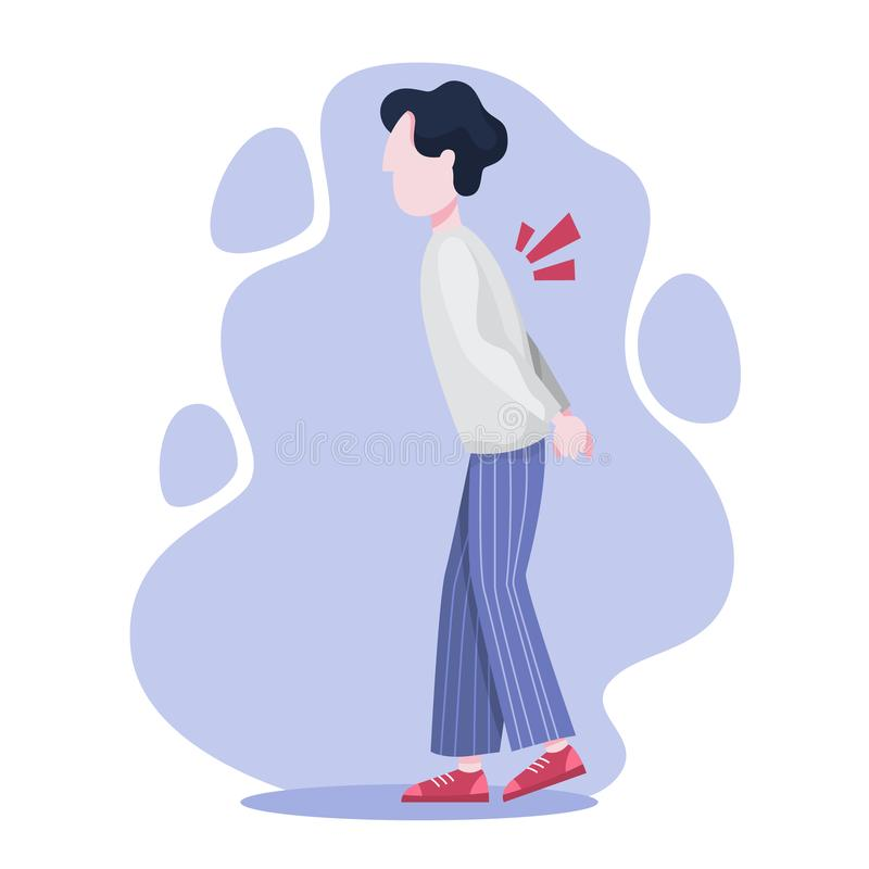 Mental disorder. Man suffer from a depression. Mental disorder. Man suffer from depression and anxiety. Fear and stress, unhappy person. Vector illustration in stock illustration