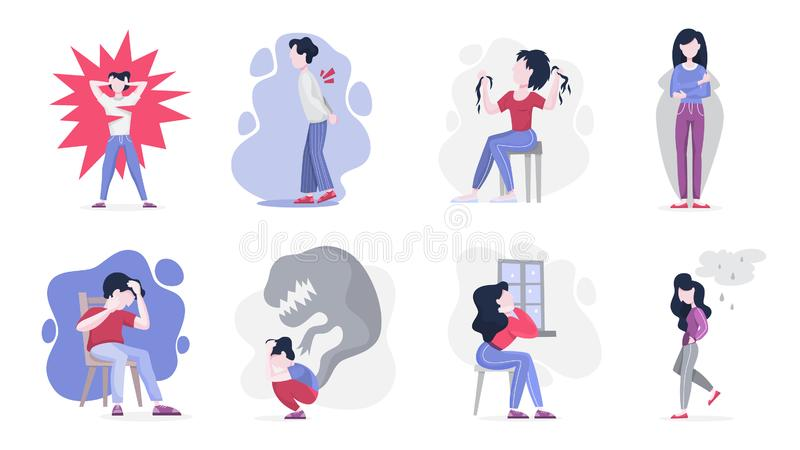 Mental disorder set. Collection of people suffer from depression. And anxiety. Fear and stress, unhappy person. Vector illustration in cartoon style royalty free illustration