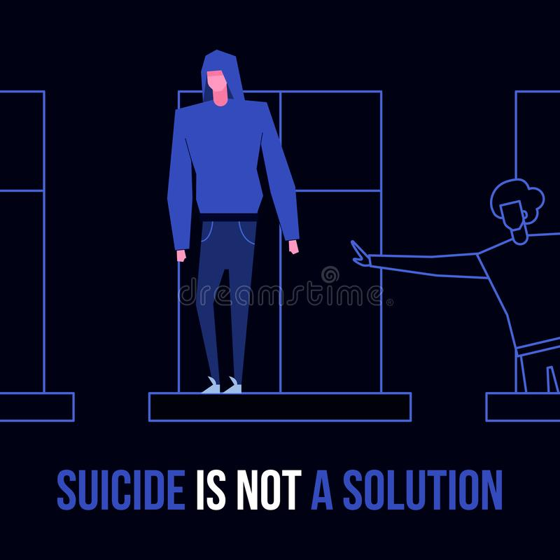 Mental disorder suicide. Modern flat suicide mental illness disorder prevention prophylaxis concept.Flat style characters on windowsill danger situation,text stock illustration