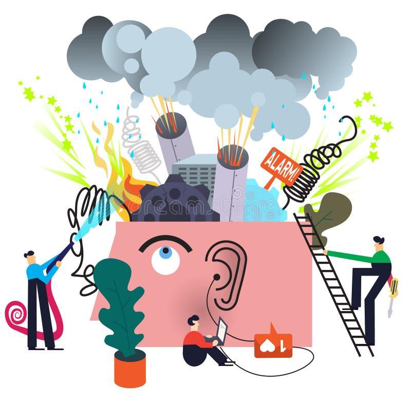 Mental disorder treatment. Concept illustration on white vector illustration