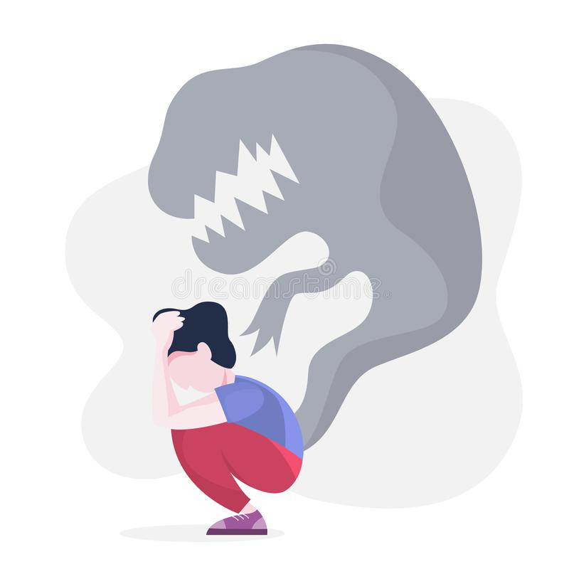 Mental disorder. Woman suffer from a depression. Mental disorder. Woman suffer from depression and anxiety. Fear and stress, unhappy person. Vector illustration vector illustration