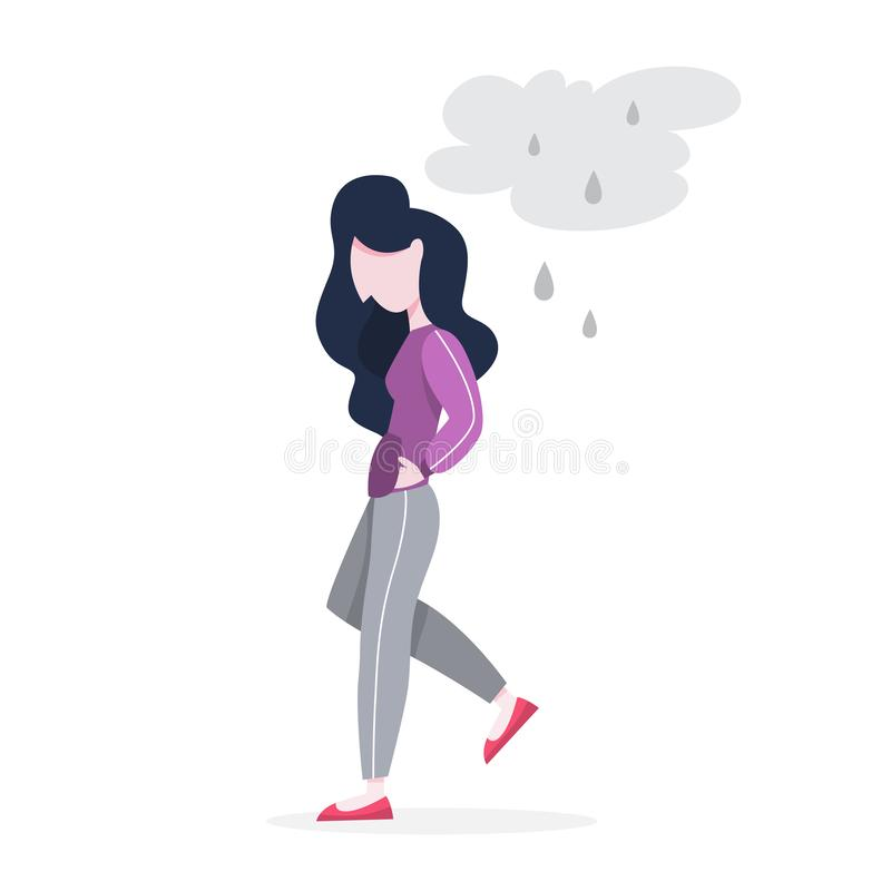 Mental disorder. Woman suffer from a depression. Mental disorder. Woman suffer from depression and anxiety. Fear and stress, unhappy person. Vector illustration stock illustration