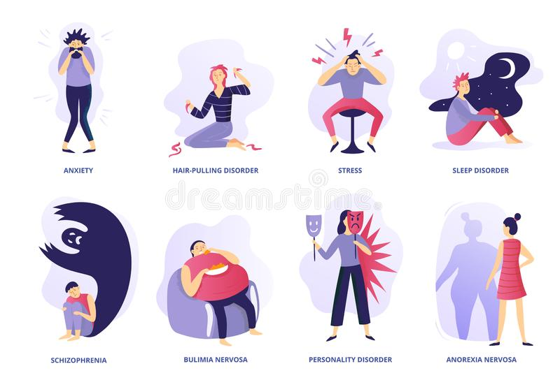 Mental disorders. Psychic illness, people psychotherapy and psychiatric problems. Mentality disorder vector illustration royalty free illustration