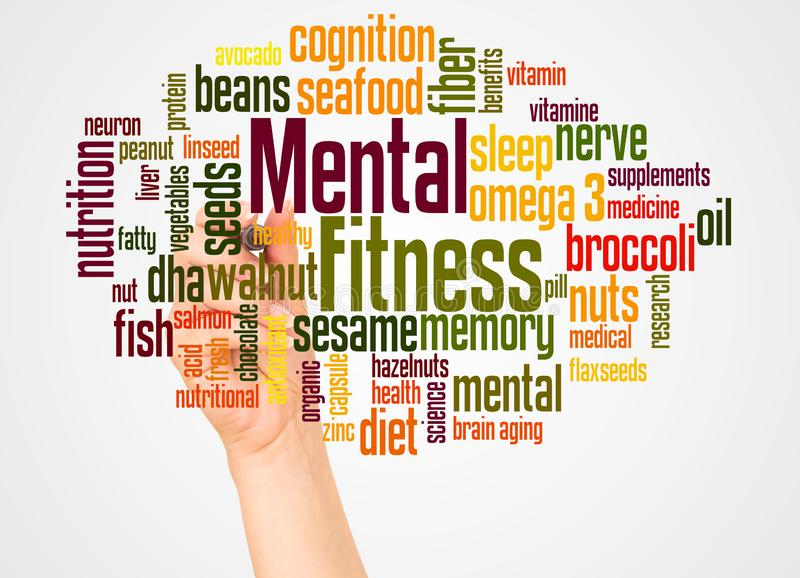 Mental Fitness word cloud and hand with marker concept royalty free stock photos