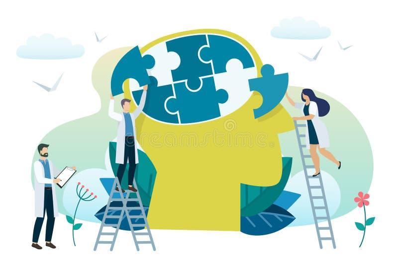Mental hälsabegrepp stock illustrationer