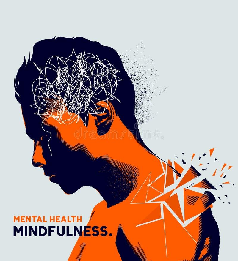 Mental hälsafrågor stock illustrationer