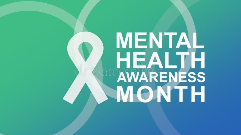 Mental hälsamedvetenhetaffisch och baner som markerar medvetenhet av mentala hälsor stock illustrationer