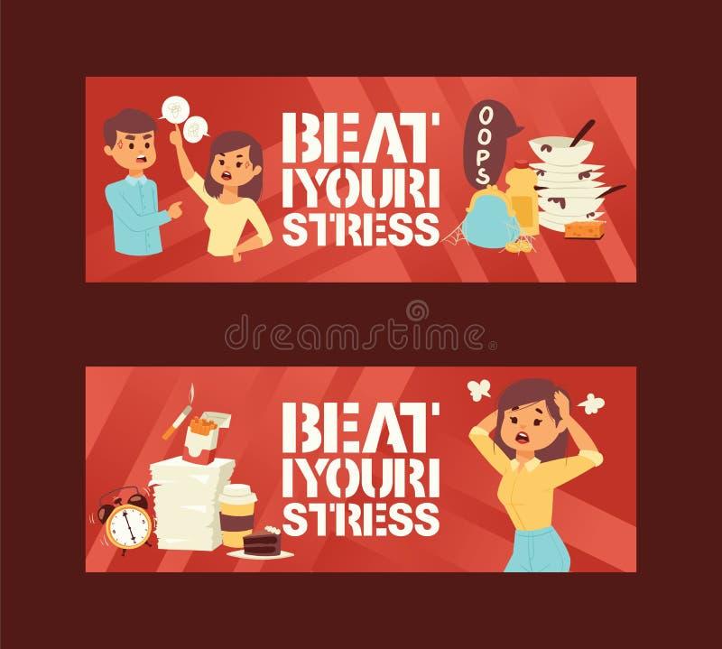 Mental hälsaoordningar och arbete gällde spänningsångest och illustrationen för vektor för fördjupningssymptomsymboler Slå ditt stock illustrationer