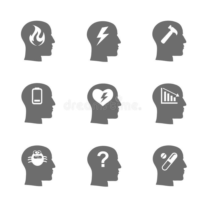 Mental hälsasymbolsuppsättning, spänningsbegrepp royaltyfri illustrationer