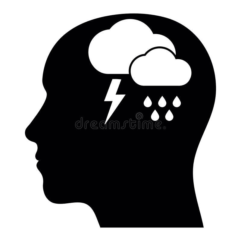 Mental hälsatecken av det fördjupnings-, böjelse- eller ensamhetbegreppet Emotionell desperation, tryck och stressigt, symbol av  vektor illustrationer