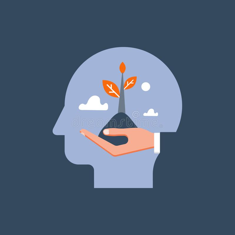 Mental hälsovård, självtillväxt, potentiell utveckling, motivation och ambition, positiv mindset, psykoterapi och analys vektor illustrationer