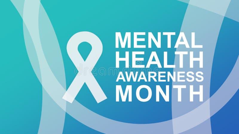 Mental h?lsamedvetenhetaffisch och baner som markerar medvetenhet av mentala h?lsor royaltyfri illustrationer