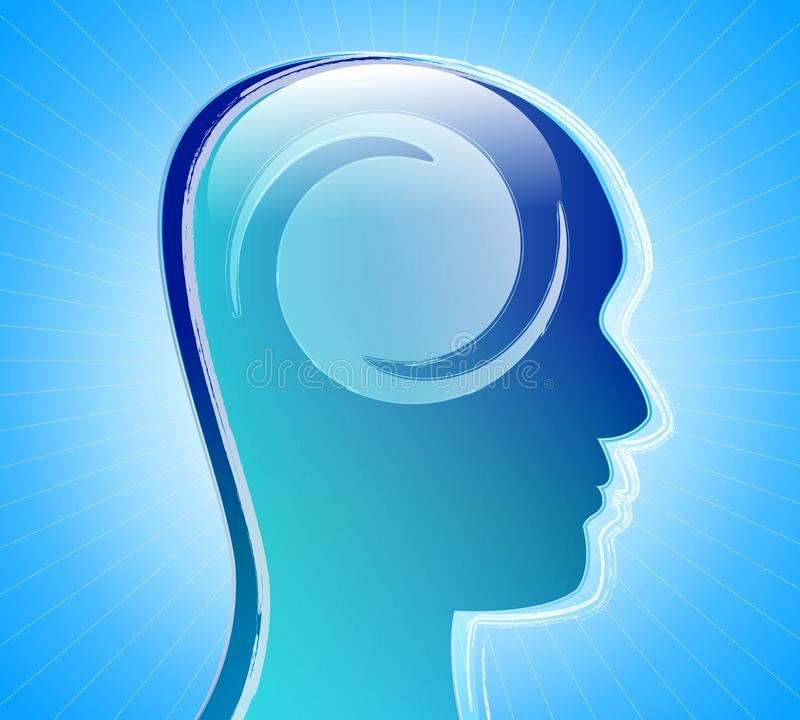 Mental health. Human head with twist inside over abstract blue background. Psychological concept: mental health