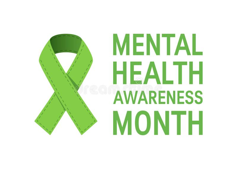 Mental health awareness month, vector flat style royalty free illustration