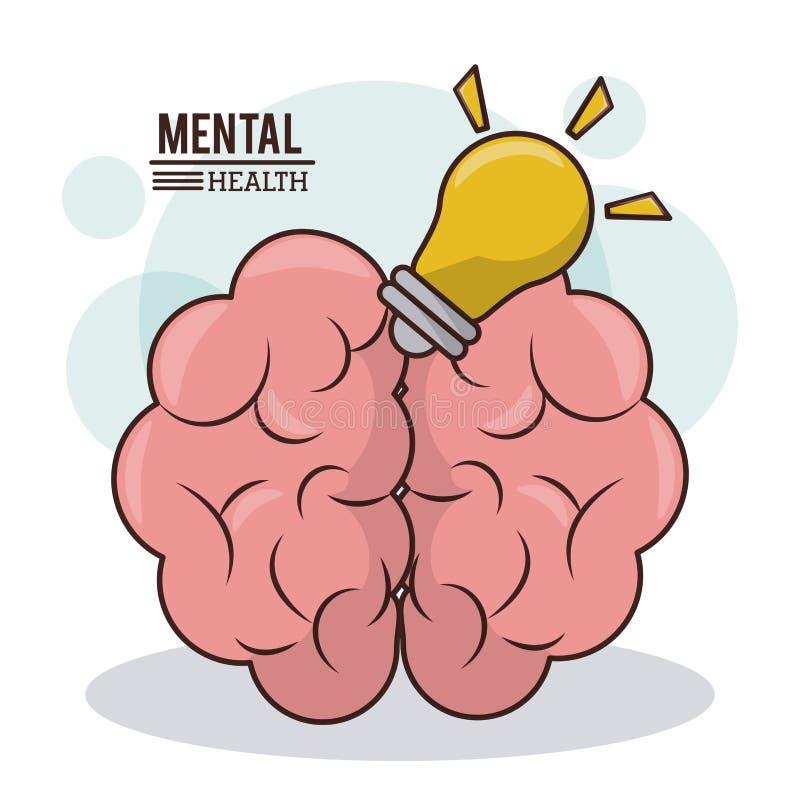 Mental health, brain idea light bulb innovation mind design royalty free illustration