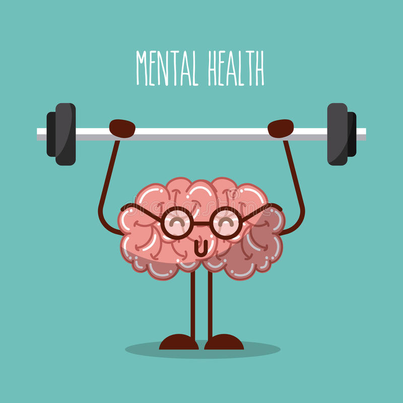 Mental health brain lifting weights image royalty free illustration