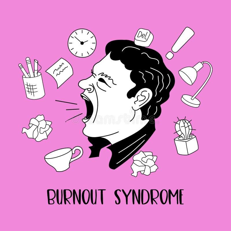 Mental health. Burnout syndrome. Mental disorder. Vector illustration. Mental health. Burnout syndrome. Chronic fatigue. Depression. Mental disorder. Aggression royalty free illustration