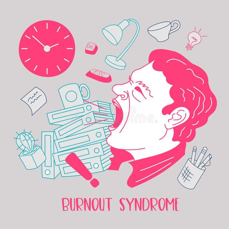 Mental health. Burnout syndrome. Mental disorder. Vector illustration. Mental health. Burnout syndrome. Chronic fatigue. Depression. Mental disorder. Aggression vector illustration