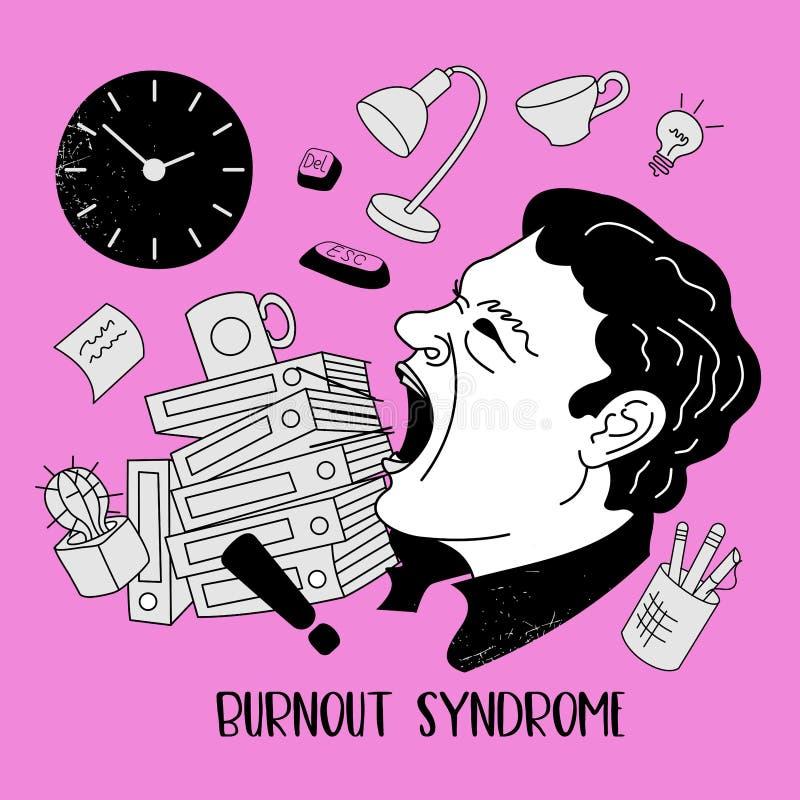 Mental health. Burnout syndrome. Mental disorder. Vector illustration. Mental health. Burnout syndrome. Chronic fatigue. Depression. Mental disorder. Aggression stock illustration