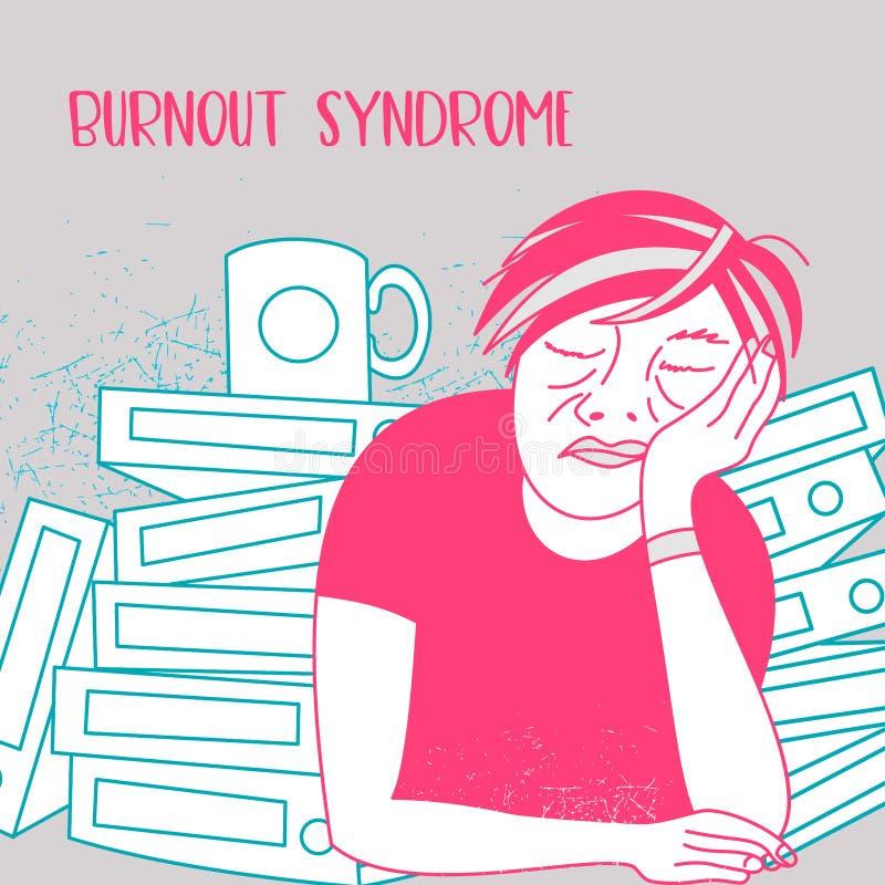 Mental health. Burnout syndrome. Mental disorder. Vector illustration. Mental health. Burnout syndrome. Chronic fatigue. Depression. Mental disorder. A man vector illustration