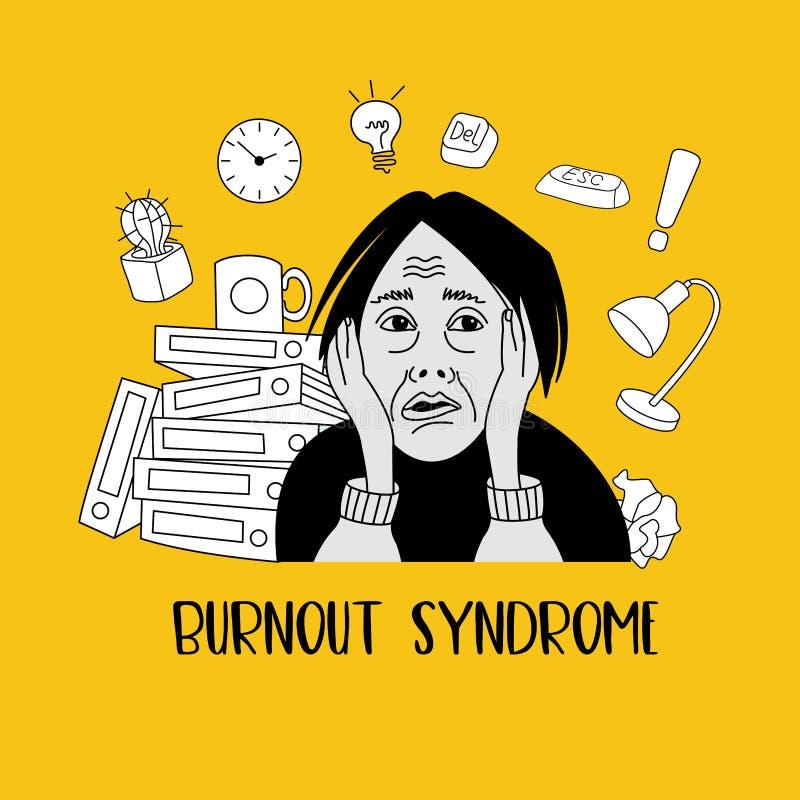 Mental health. Burnout syndrome. Mental disorder. Vector illustration. Mental health. Burnout syndrome. Chronic fatigue. Depression. Mental disorder. The woman stock illustration