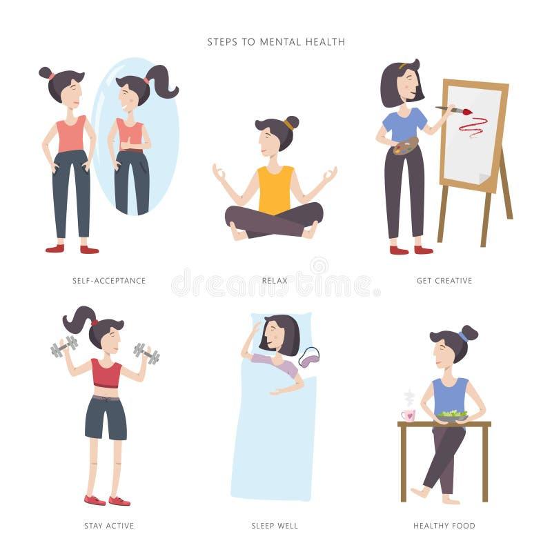 Mental health care vector illustration. Steps to mental health. Big set of infographic elements royalty free illustration