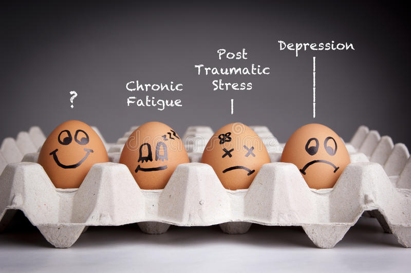 Mental Health Concept. In playful style with egg characters stock photography