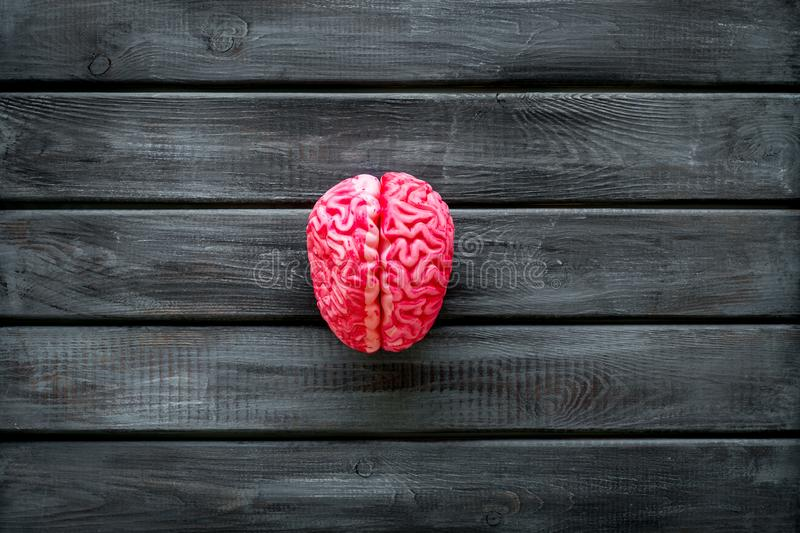 Mental health concept with brain on wooden background top view mock up. Mindfulness. Mental health concept with brain on wooden background top view mock up stock images