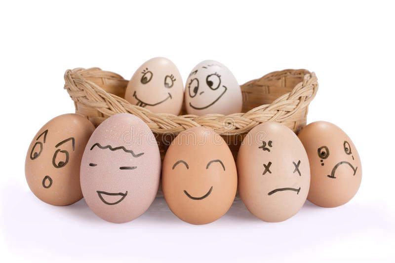 Mental Health Concept Funny easter smile eggs. Mental health concept in playful style with egg characters.Funny easter smile eggs stock image