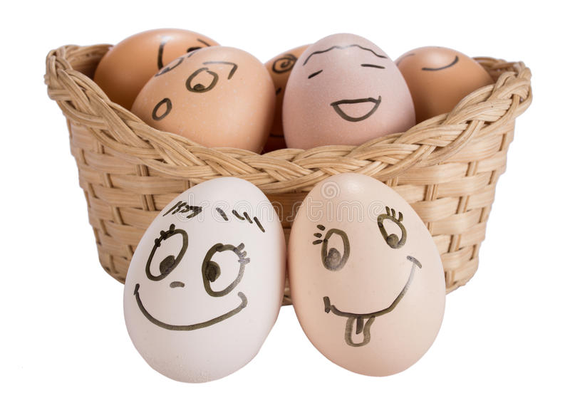 Mental Health Concept Funny easter smile eggs. Mental health concept in playful style with egg characters.Funny easter smile eggs royalty free stock photography