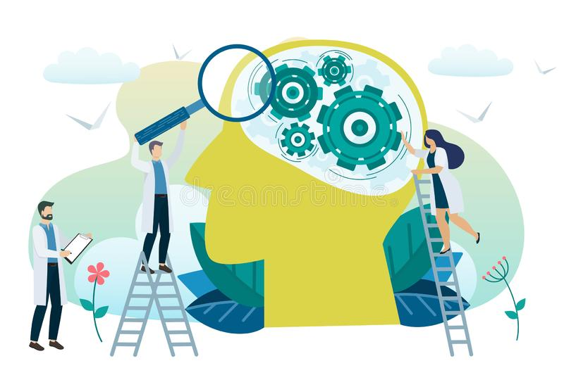Mental health concept. Solving mental problems. Psychotherapy and help. Vector stock illustration
