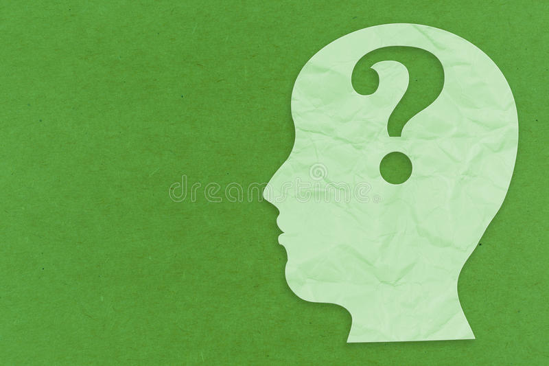 Mental health concept. With side face and question mark royalty free stock images