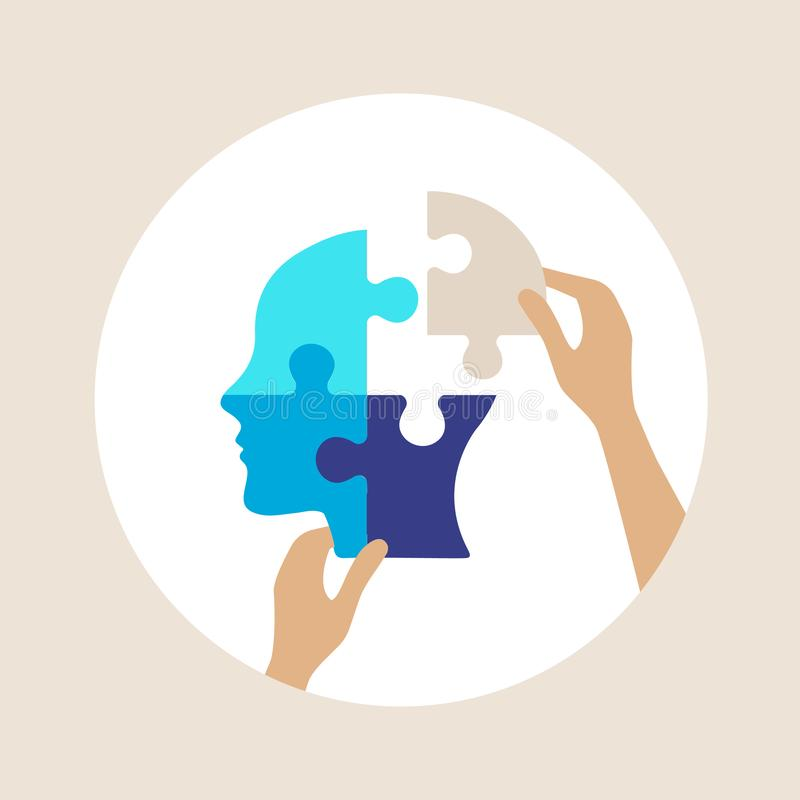 Mental health concept vector illustration. Mental health concept, vector illustration, puzzle shaped head lacking one piece, human hands placing the last piece royalty free illustration