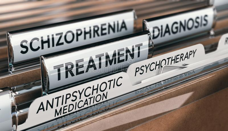 Mental health conditions, schizophrenia diagnosis and treatment with antipsychotic medication and psychotherapy. 3D illustration of files with schizophrenia vector illustration