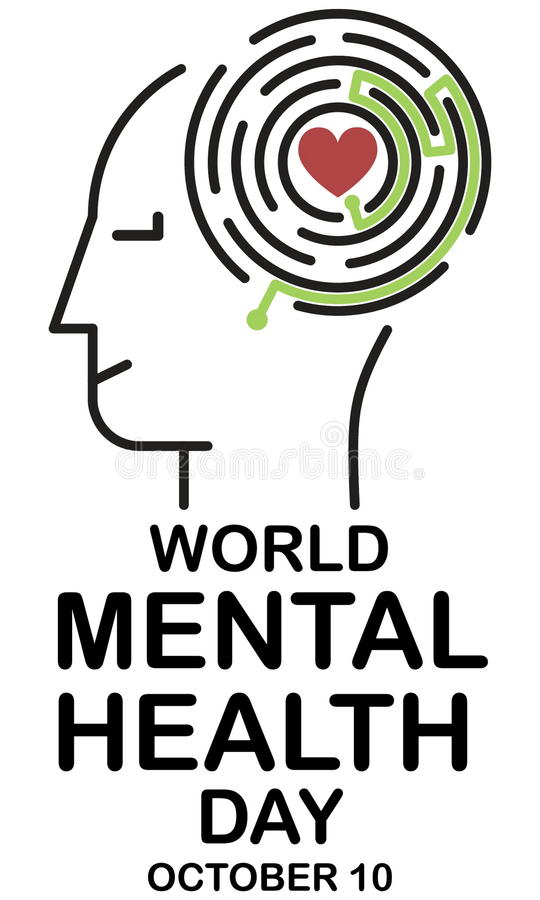 Mental health day. Human face and maze with right path for heart. With lettering World mental health day stock illustration