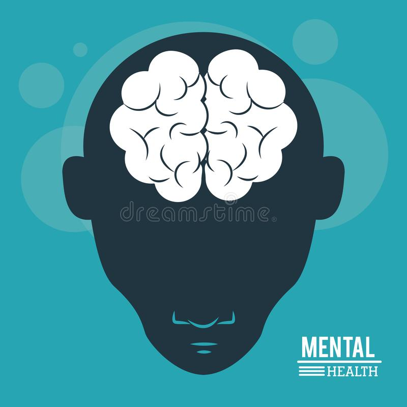 Mental health, head human, silhouette face and brain in flat style vector illustration