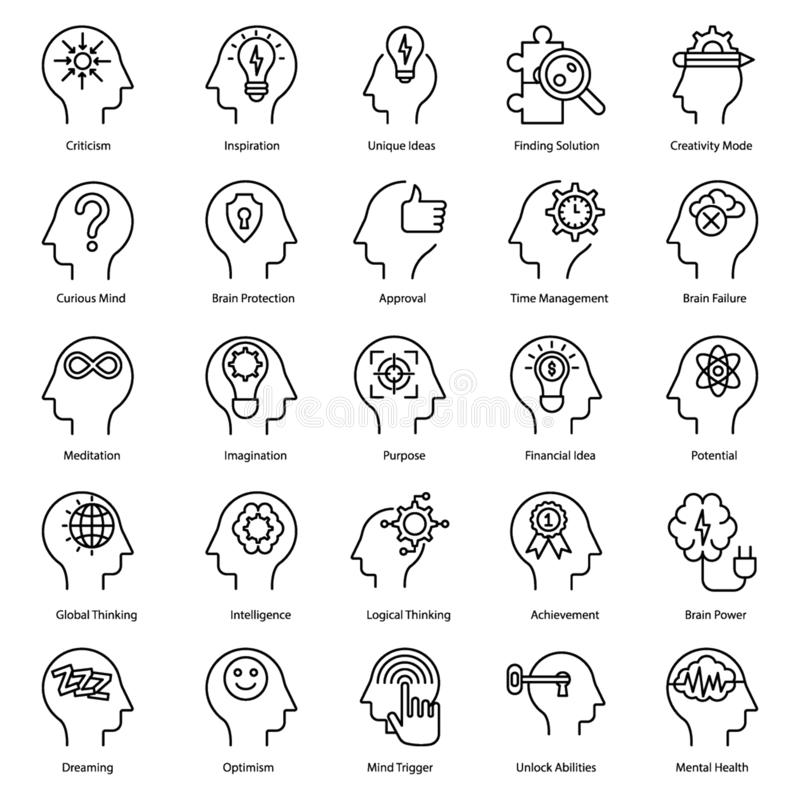 Mental Health Line Vectors. Here is a pack of mental health  line vectors  consisting of 40 visulas. Editable icons with unique visuals is a perfect combo to stock illustration