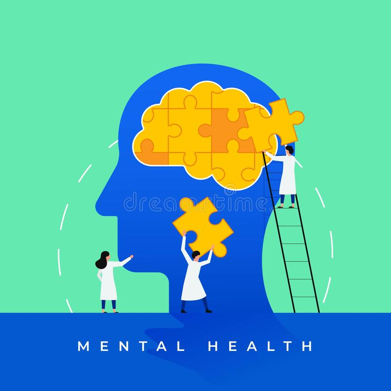 Mental health medical treatment vector illustration. Psychology specialist doctor work together to fix brain puzzle head for world stock illustration