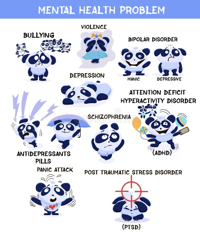Mental health problems banner. Little pandas with with symptoms. Of psychological disorders. Flat vector illustration stock illustration