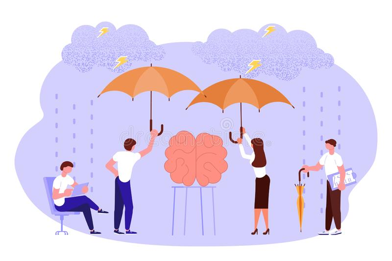 Mental health problems concept. In flat design. Scientists neurobiologists research the human brain. Vector illustration eps 10 stock illustration