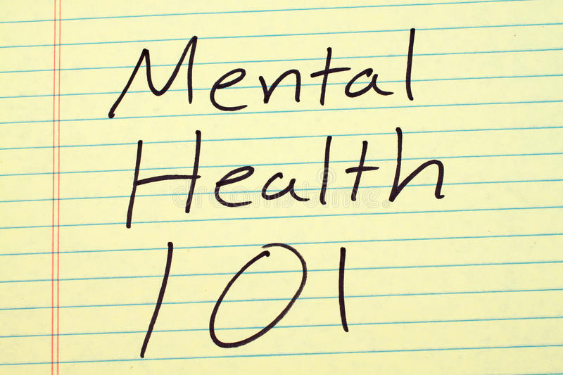 Mental Health 101 On A Yellow Legal Pad. The words `Mental Health 101` on a yellow legal pad stock photo