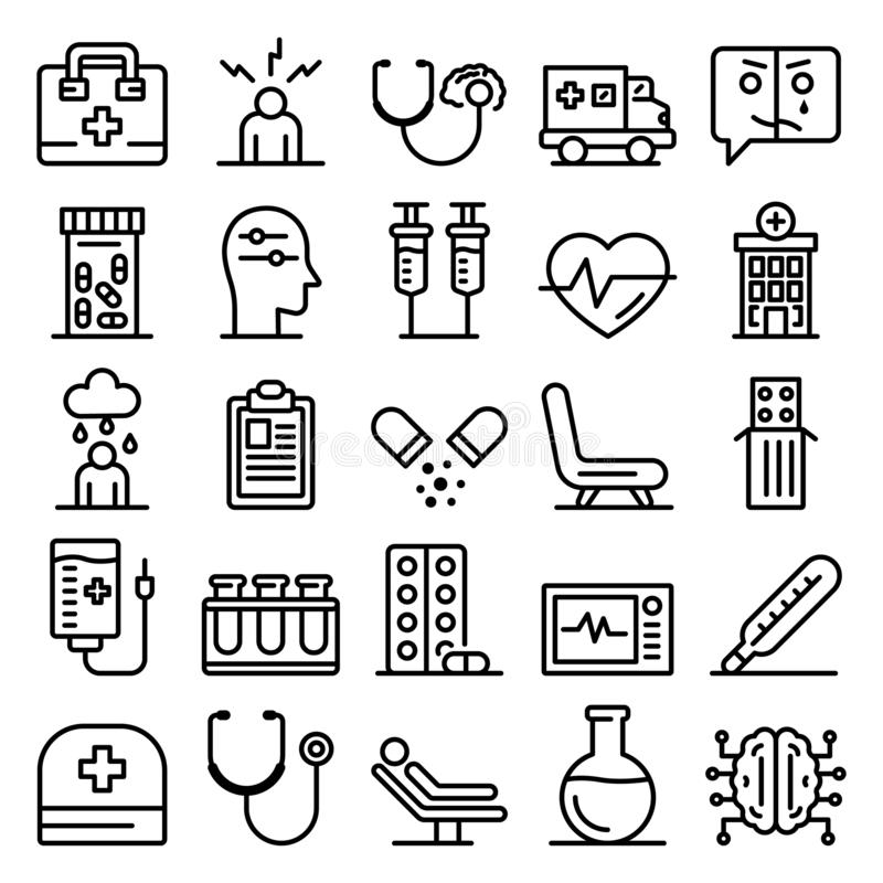 Mental hospital icons set, outline style royalty free stock images