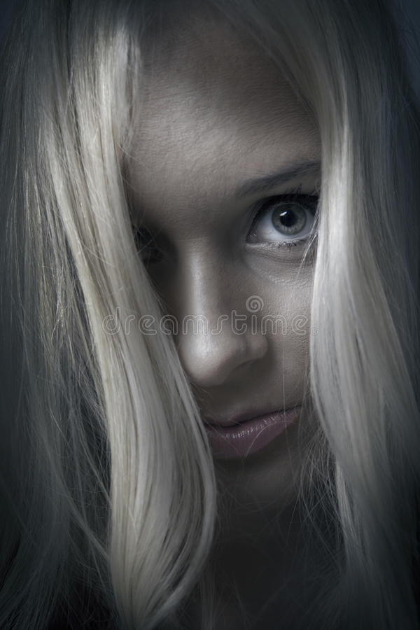 Mental illness. Woman face with mental illness expression royalty free stock images