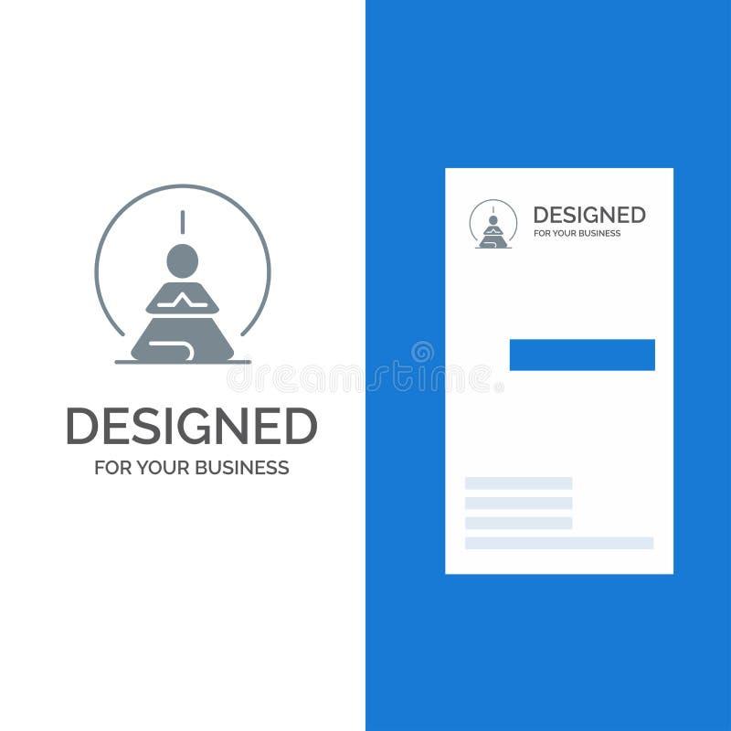Mental koncentration, koncentration, meditation, mentalt, mening Grey Logo Design och mall för affärskort royaltyfri illustrationer