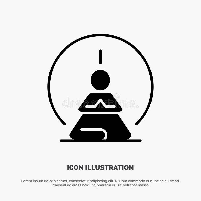 Mental koncentration, koncentration, meditation som är mental, för skårasymbol för mening fast vektor stock illustrationer