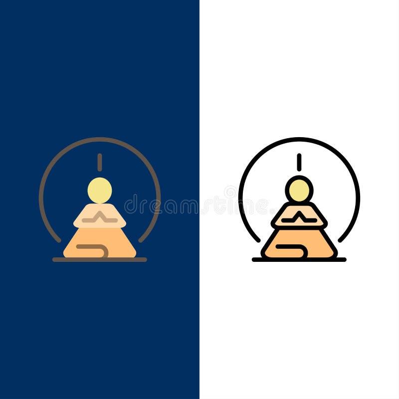 Mental koncentration, koncentration, meditation som är mental, meningssymboler Lägenheten och linjen fylld symbol ställde in blå  stock illustrationer