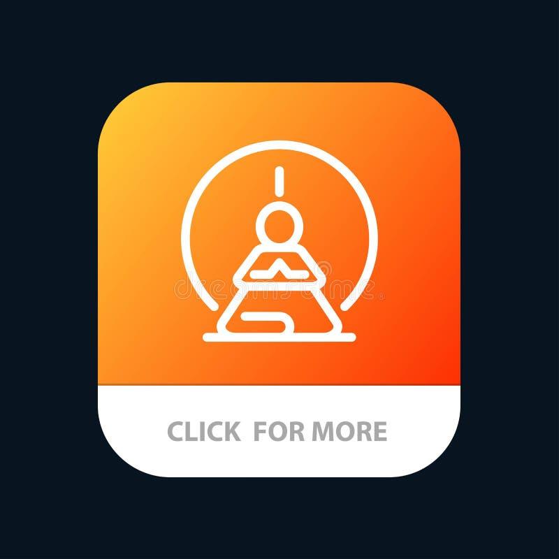 Mental koncentration, koncentration, meditation som är mental, mobil Appknapp för mening Android och IOS-linje version stock illustrationer